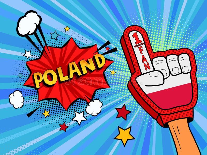 Männliche Hand des Sportfans im Handschuh hob Gewinn von Polen-Landesflagge oben feiern an Polen-Spracheblase mit Sternen und Wol stock abbildung