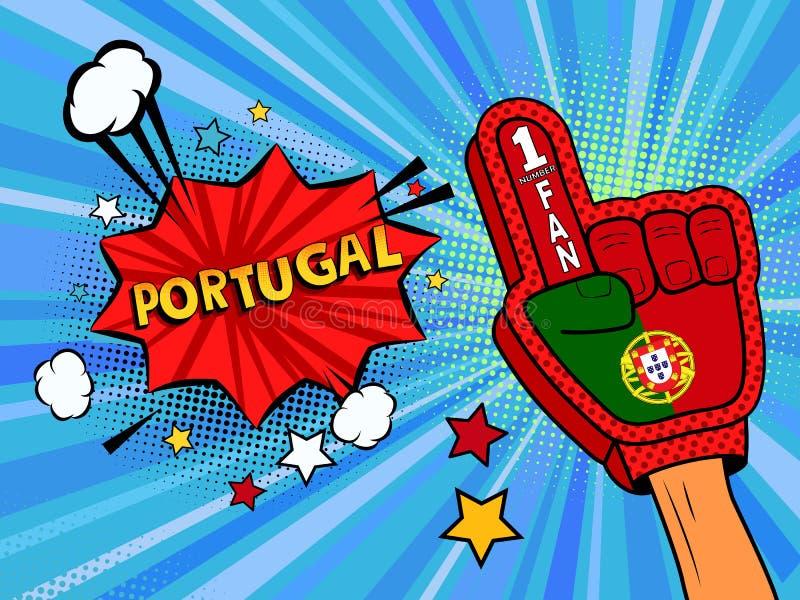 Männliche Hand des Sportfans im Handschuh hob Gewinn von Portugal-Landesflagge oben feiern an Portugal-Spracheblase mit Sternen u vektor abbildung