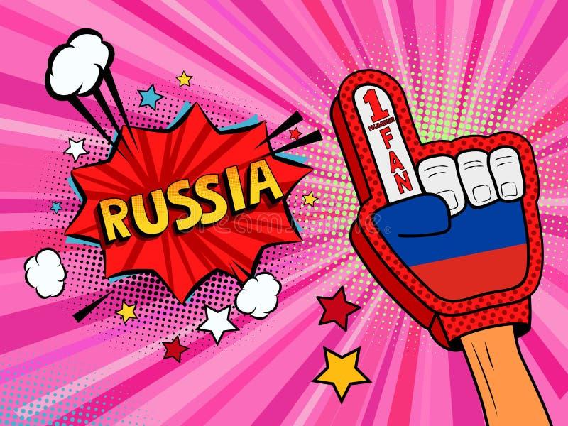 Männliche Hand des Sportfans im Handschuh hob Gewinn von Russland-Landesflagge oben feiern an Russland-Spracheblase mit Sternen u stock abbildung