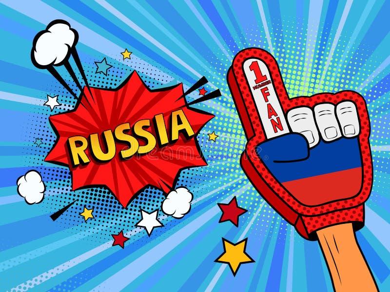 Männliche Hand des Sportfans im Handschuh hob Gewinn von Russland-Landesflagge oben feiern an Russland-Spracheblase mit Sternen u lizenzfreie abbildung