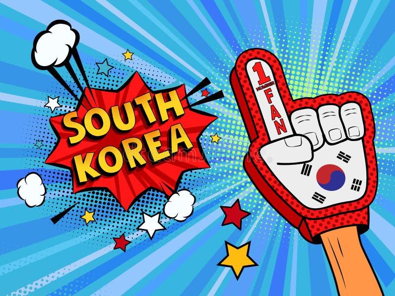 Männliche Hand des Sportfans im Handschuh hob Gewinn von Südkorea-Landesflagge oben feiern an Südkorea-Spracheblase mit Sternen u vektor abbildung