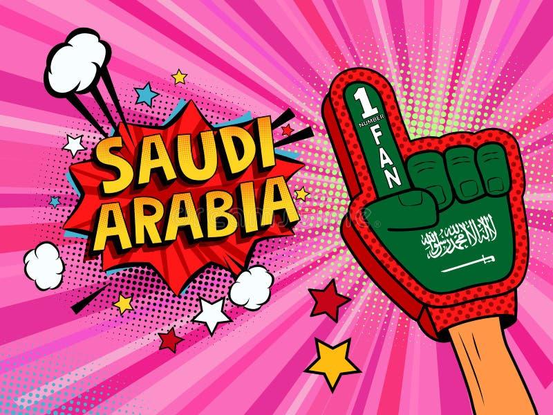 Männliche Hand des Sportfans im Handschuh hob Gewinn von Saudi-Arabien Landesflagge oben feiern an Saudi-Arabien Spracheblase mit lizenzfreie abbildung