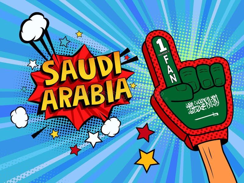Männliche Hand des Sportfans im Handschuh hob Gewinn von Saudi-Arabien Landesflagge oben feiern an Saudi-Arabien Spracheblase mit stock abbildung