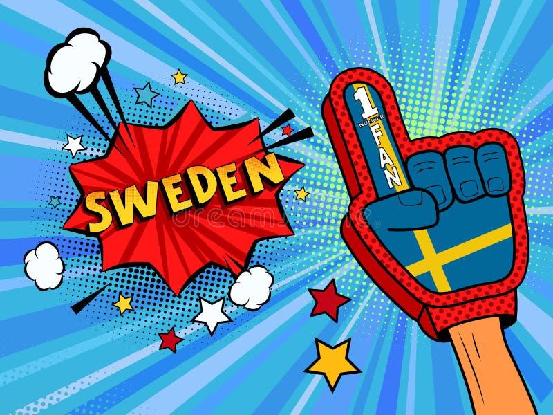 Männliche Hand des Sportfans im Handschuh hob Gewinn von Schweden-Landesflagge oben feiern an Schweden-Spracheblase mit Sternen u lizenzfreie abbildung