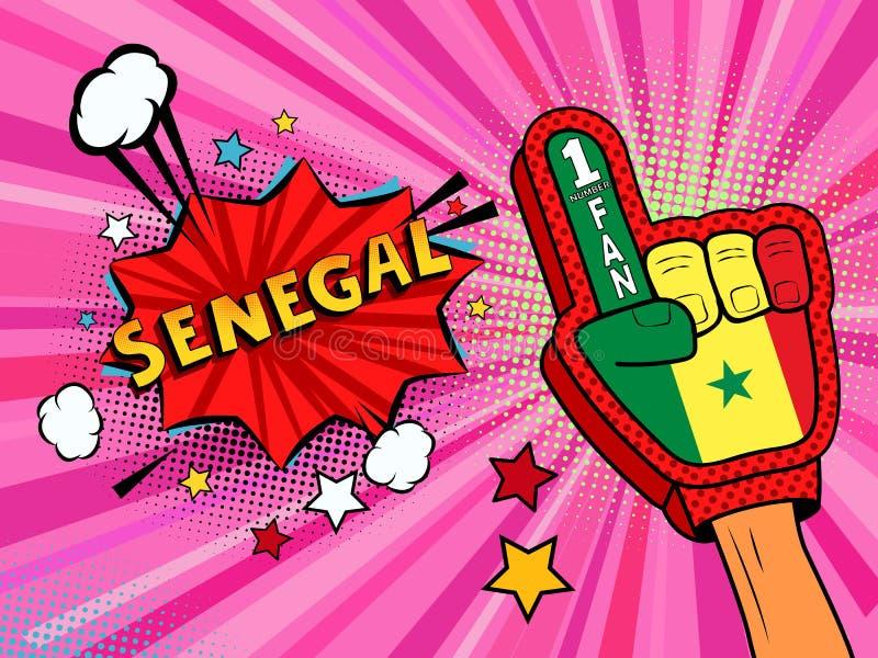 Männliche Hand des Sportfans im Handschuh hob Gewinn von Senegal-Landesflagge oben feiern an Senegal-Spracheblase mit Sternen und lizenzfreie abbildung