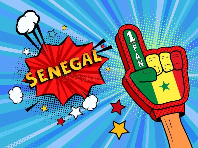 Männliche Hand des Sportfans im Handschuh hob Gewinn von Senegal-Landesflagge oben feiern an Senegal-Spracheblase mit Sternen und vektor abbildung