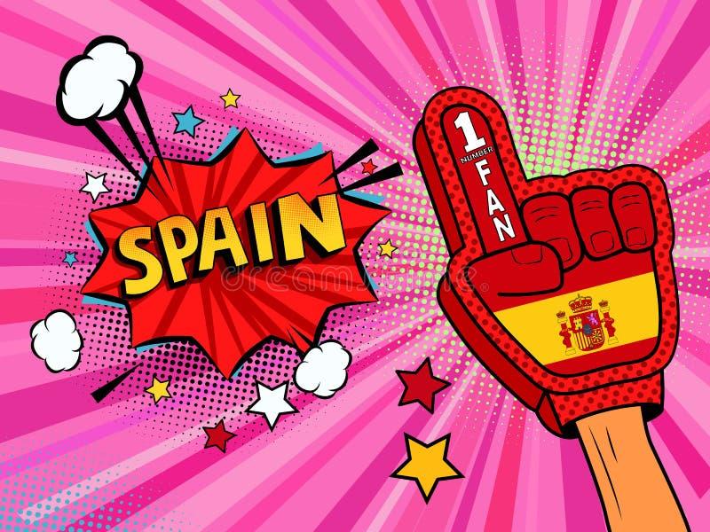 Männliche Hand des Sportfans im Handschuh hob Gewinn von Spanien-Landesflagge oben feiern an Spanien-Spracheblase mit Sternen und vektor abbildung