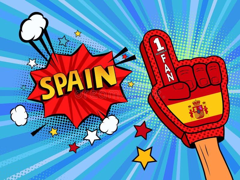 Männliche Hand des Sportfans im Handschuh hob Gewinn von Spanien-Landesflagge oben feiern an Spanien-Spracheblase mit Sternen und lizenzfreie abbildung