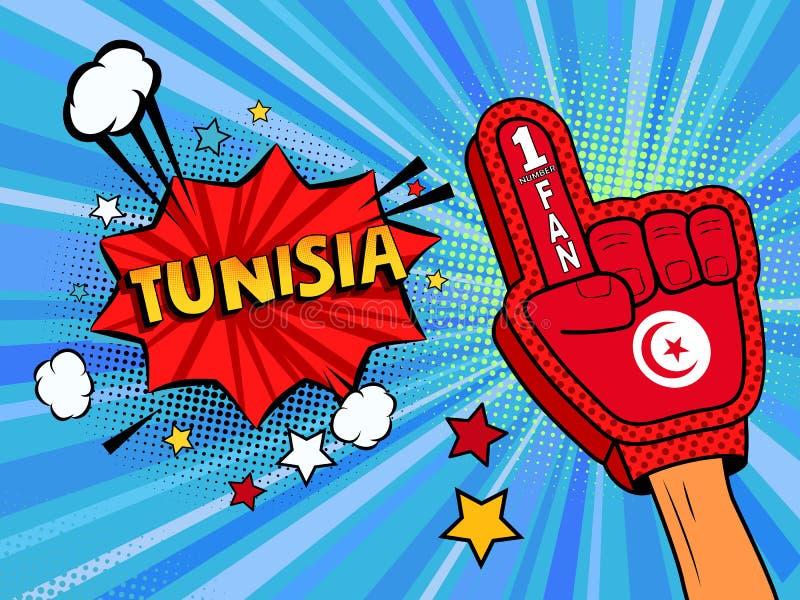 Männliche Hand des Sportfans im Handschuh hob Gewinn von Tunesien-Landesflagge oben feiern an Tunesien-Spracheblase mit Sternen u vektor abbildung