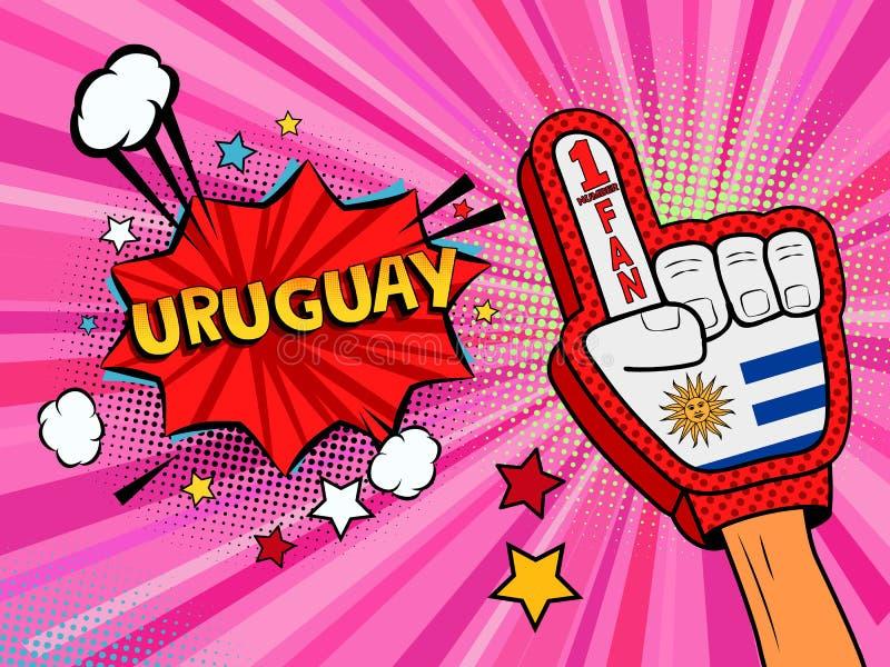 Männliche Hand des Sportfans im Handschuh hob Gewinn von Uruguay-Landesflagge oben feiern an Uruguay-Spracheblase mit Sternen und stock abbildung
