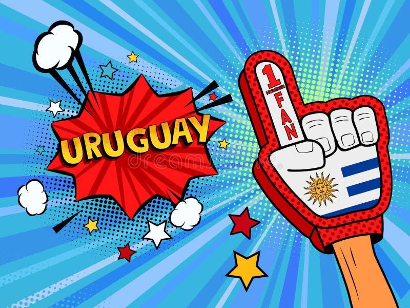 Männliche Hand des Sportfans im Handschuh hob Gewinn von Uruguay-Landesflagge oben feiern an Uruguay-Spracheblase mit Sternen und lizenzfreie abbildung