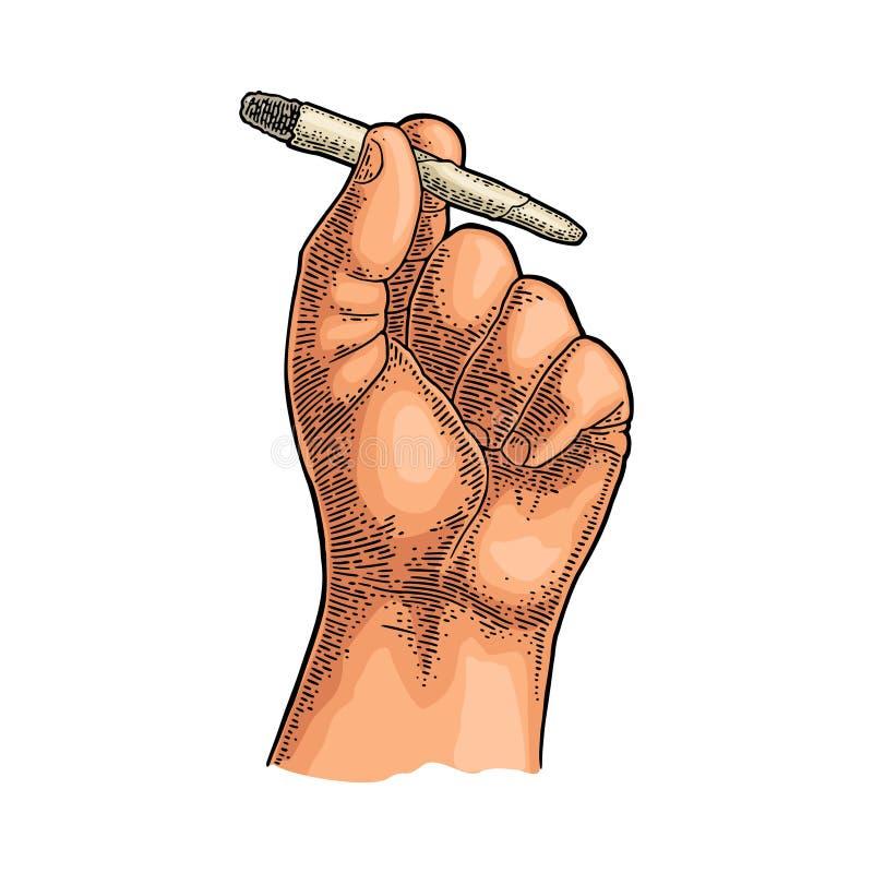 Männliche Hand, die brennende Zigaretten mit Marihuana hält Stichweinlese vektor abbildung