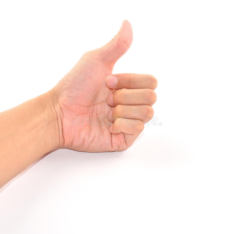 Männliche Hand, die Daumen herauf das Zeichen getrennt auf Weiß zeigt stockfotografie