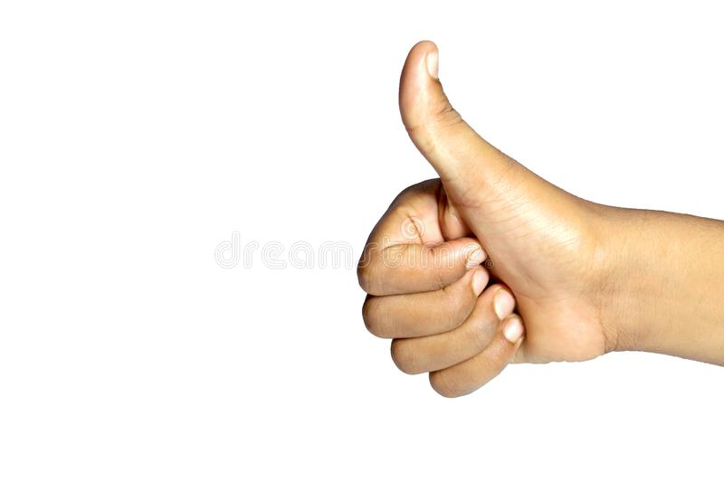 Männliche Hand, die Daumen herauf Zeichen für Erfolg und Bestes des Glücks zeigt lizenzfreies stockbild