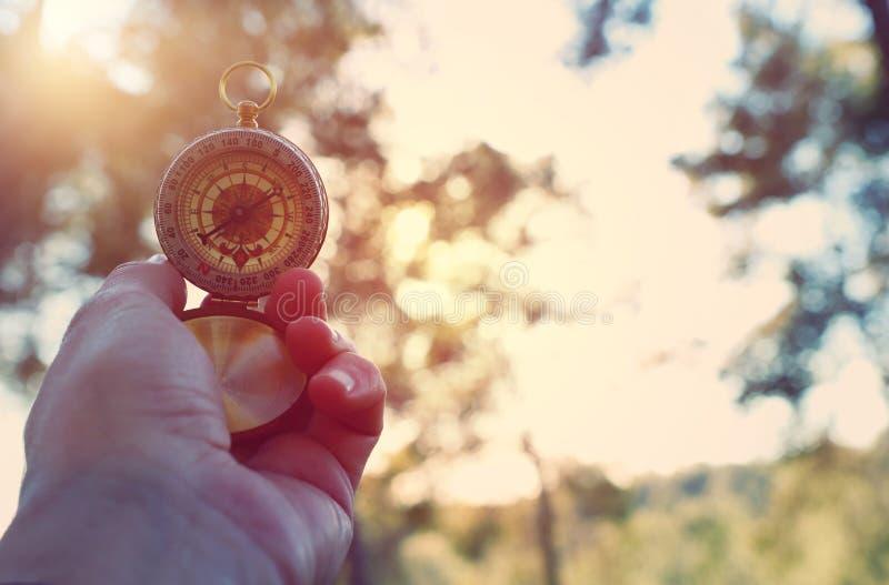 Männliche Hand, die einen Kompass während der Reise im Wald hält stockfotografie