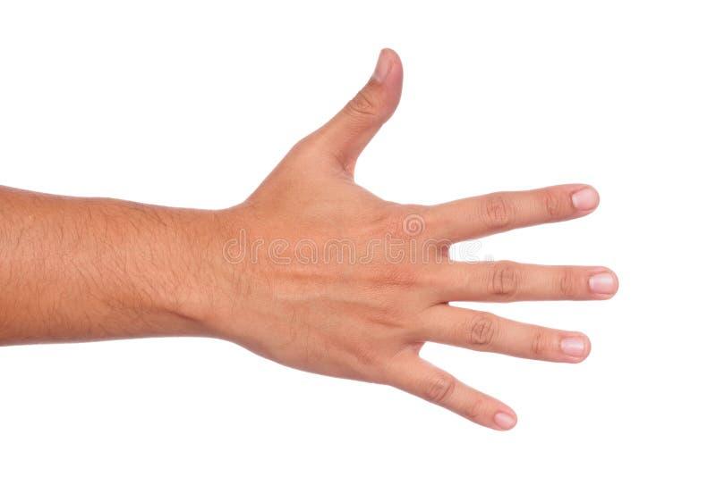 Männliche Hand, die fünf Finger zeigt lizenzfreies stockfoto
