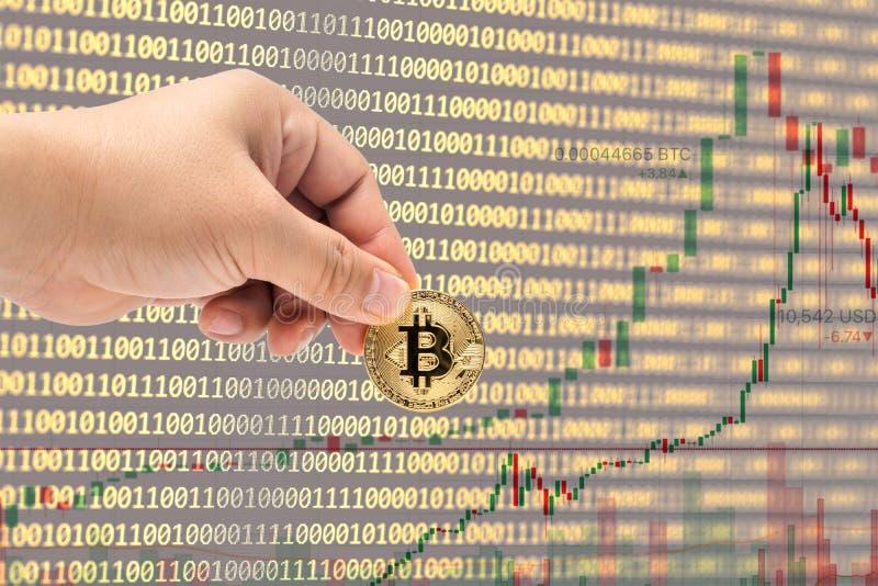 Männliche Hand, die körperliche Version neuen virtuellen Geldes Bitcoin auswählt lizenzfreie stockfotos