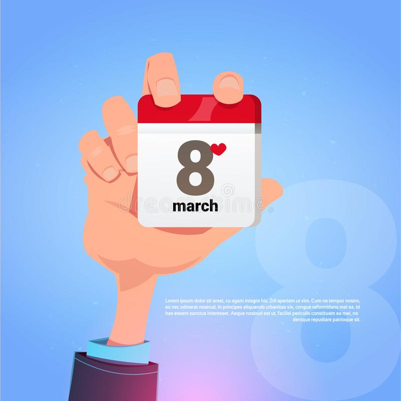 Männliche Hand, die Kalender-Seite mit am 8. März Datums-glücklichem internationalem Frauen-Tagesfeiertags-Konzept hält vektor abbildung