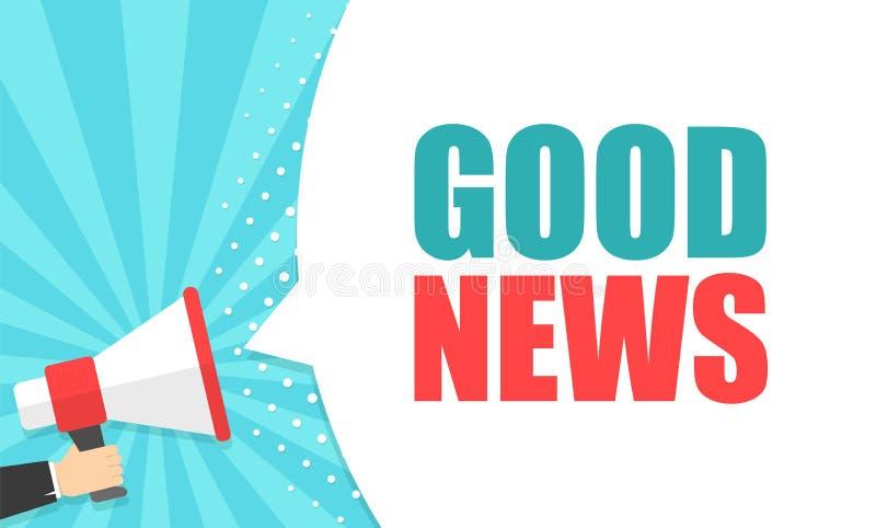 Männliche Hand, die Megaphon mit Spracheblase der guten Nachrichten hält lautsprecher Fahne für Geschäft, Marketing und Werbung lizenzfreie abbildung