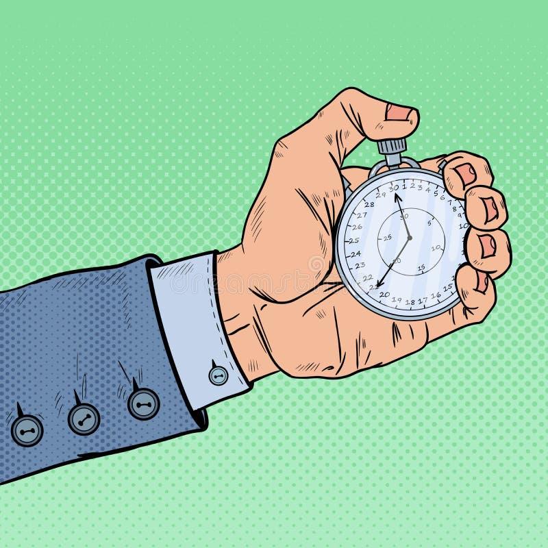 Männliche Hand, die Stoppuhr hält Vector moderne Illustration in der flachen Art mit der männlichen Hand, die Stoppuhr hält Retro stock abbildung