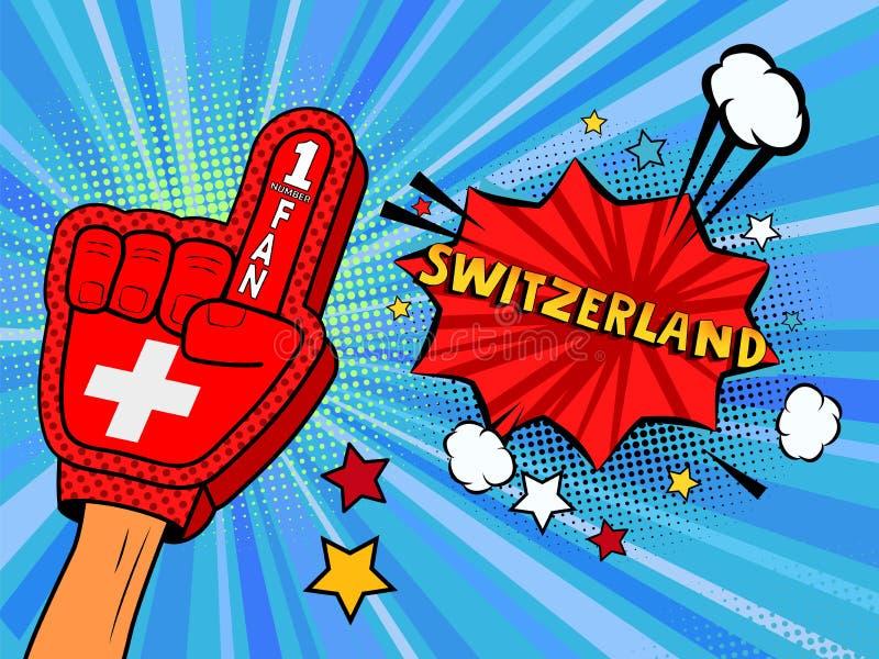 Männliche Hand im Landesflaggehandschuh eines Sportfans gezüchtet herauf das Feiern Gewinn- und die Schweiz-Spracheblasensterne u vektor abbildung