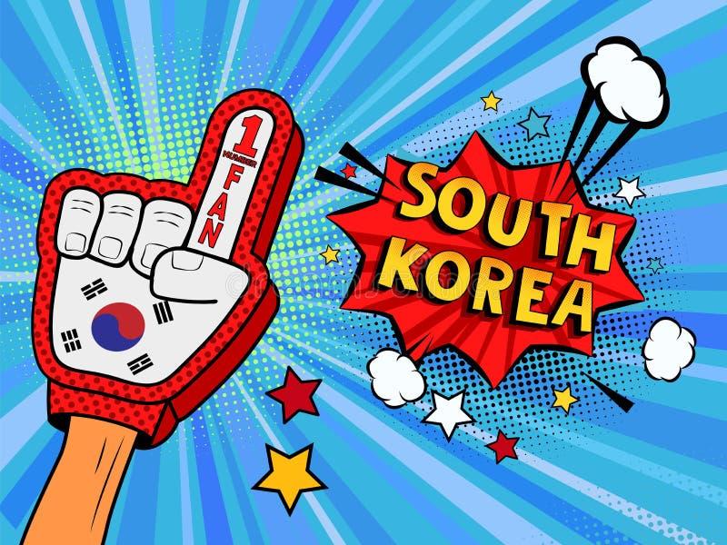 Männliche Hand im Landesflaggehandschuh eines Sportfans gezüchtet herauf das Feiern Gewinn- und Südkorea-Spracheblasensterne und  stock abbildung