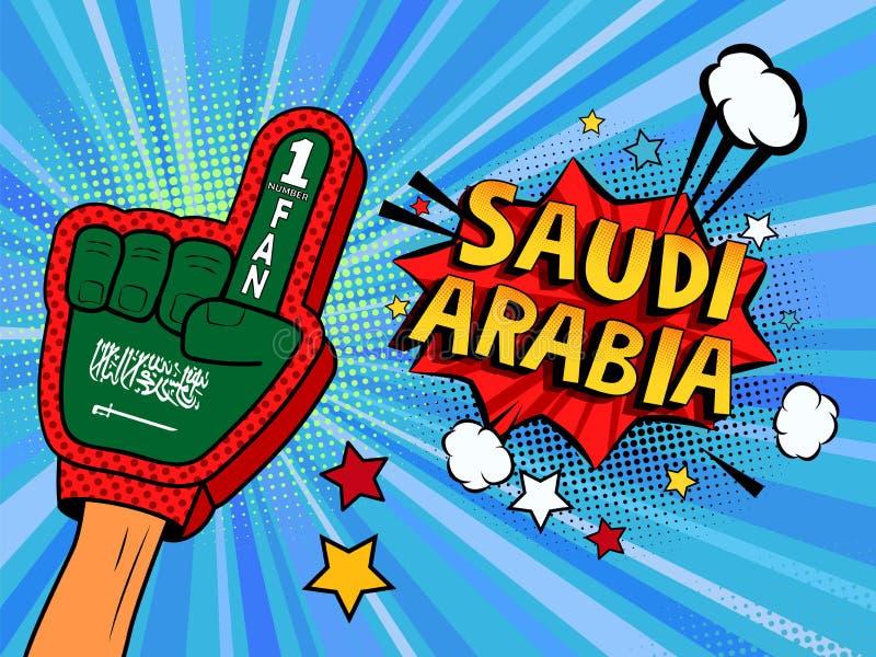 Männliche Hand im Landesflaggehandschuh eines Sportfans gezüchtet herauf das Feiern Gewinn- und Saudi-Arabien Spracheblasensterne stock abbildung