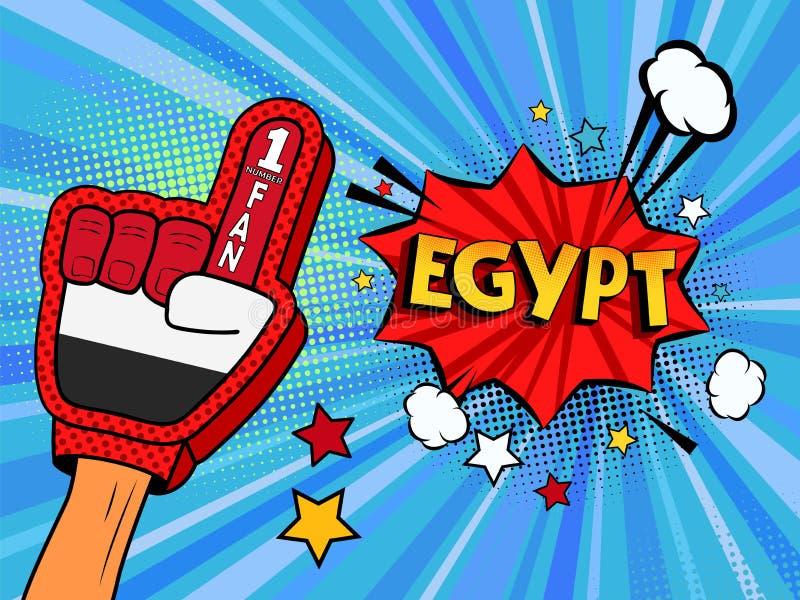 Männliche Hand im Landesflaggehandschuh eines Sportfans hob Gewinn- und Ägypten-Spracheblase mit Sternen und Wolken oben feiern a stock abbildung