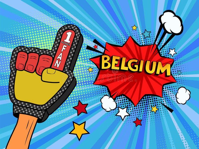 Männliche Hand im Landesflaggehandschuh eines Sportfans hob Gewinn- und Belgien-Spracheblase mit Sternen und Wolken oben feiern a vektor abbildung