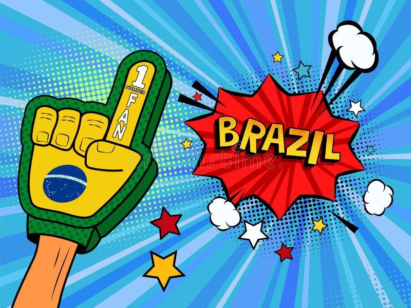 Männliche Hand im Landesflaggehandschuh eines Sportfans hob Gewinn- und Brasilien-Spracheblase mit Sternen und Wolken oben feiern vektor abbildung