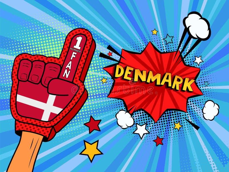 Männliche Hand im Landesflaggehandschuh eines Sportfans hob Gewinn- und Dänemark-Spracheblase mit Sternen und Wolken oben feiern  vektor abbildung