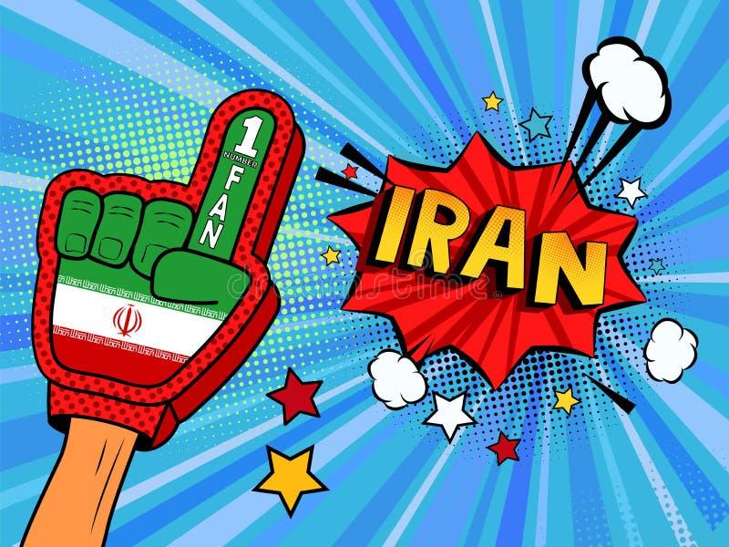 Männliche Hand im Landesflaggehandschuh eines Sportfans hob Gewinn- und der Iran-Spracheblase mit Sternen und Wolken oben feiern  stock abbildung