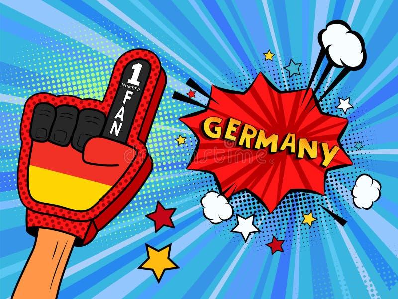 Männliche Hand im Landesflaggehandschuh eines Sportfans hob Gewinn- und Deutschland-Spracheblase mit Sternen und Wolken oben feie stock abbildung