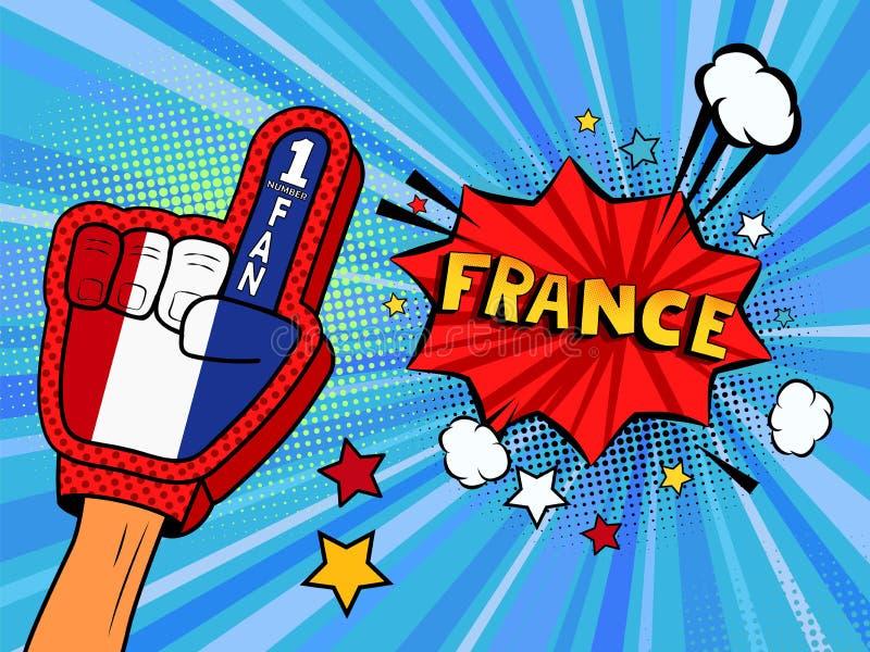 Männliche Hand im Landesflaggehandschuh eines Sportfans hob Gewinn- und Frankreich-Spracheblase mit Sternen und Wolken oben feier vektor abbildung