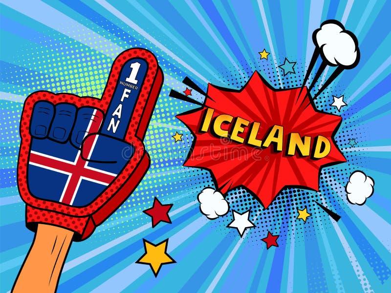 Männliche Hand im Landesflaggehandschuh eines Sportfans hob Gewinn- und Island-Spracheblase mit Sternen und Wolken oben feiern an lizenzfreie abbildung