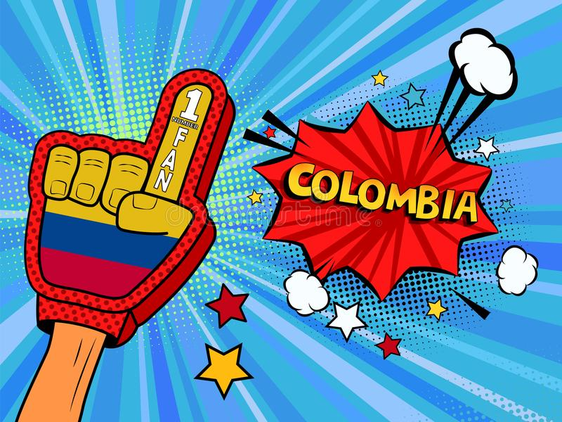 Männliche Hand im Landesflaggehandschuh eines Sportfans hob Gewinn- und Kolumbien-Spracheblase mit Sternen und Wolken oben feiern stock abbildung