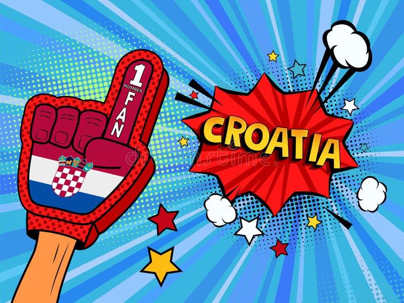 Männliche Hand im Landesflaggehandschuh eines Sportfans hob Gewinn- und Kroatien-Spracheblase mit Sternen und Wolken oben feiern  lizenzfreie abbildung