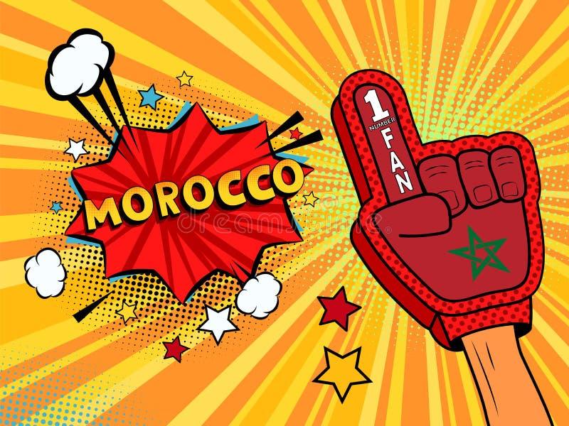 Männliche Hand im Landesflaggehandschuh eines Sportfans hob Gewinn- und Marokko-Spracheblase mit Sternen und Wolken oben feiern a lizenzfreie abbildung