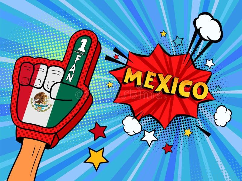 Männliche Hand im Landesflaggehandschuh eines Sportfans hob Gewinn- und Mexiko-Spracheblase mit Sternen und Wolken oben feiern an vektor abbildung