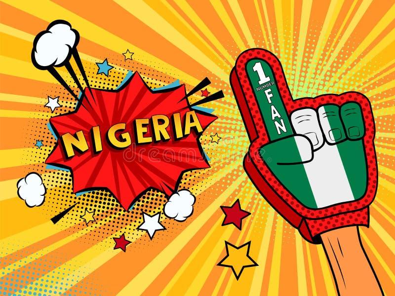 Männliche Hand im Landesflaggehandschuh eines Sportfans hob Gewinn- und Nigeria-Spracheblase mit Sternen und Wolken oben feiern a stock abbildung