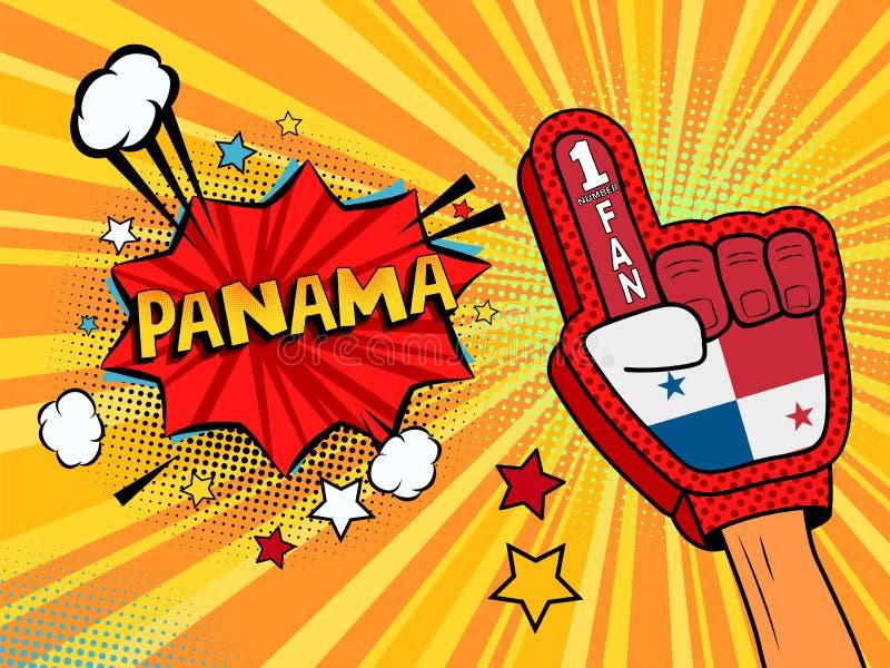Männliche Hand im Landesflaggehandschuh eines Sportfans hob Gewinn- und Panama-Spracheblase mit Sternen und Wolken oben feiern an vektor abbildung