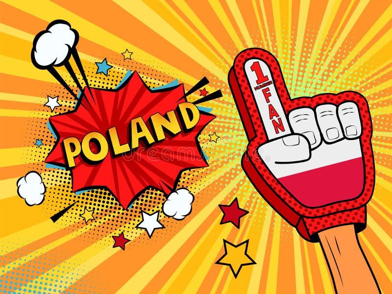 Männliche Hand im Landesflaggehandschuh eines Sportfans hob Gewinn- und Polen-Spracheblase mit Sternen und Wolken oben feiern an  vektor abbildung