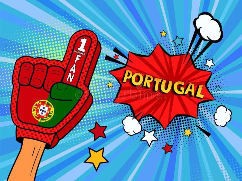 Männliche Hand im Landesflaggehandschuh eines Sportfans hob Gewinn- und Portugal-Spracheblase mit Sternen und Wolken oben feiern  stock abbildung