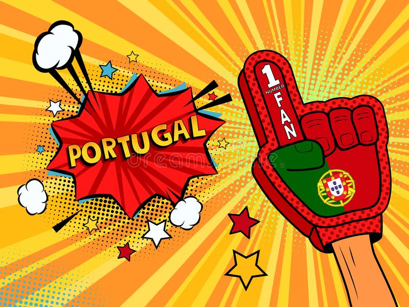 Männliche Hand im Landesflaggehandschuh eines Sportfans hob Gewinn- und Portugal-Spracheblase mit Sternen und Wolken oben feiern  vektor abbildung