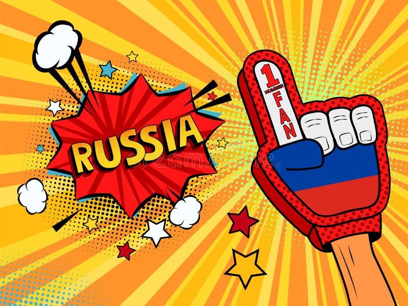 Männliche Hand im Landesflaggehandschuh eines Sportfans hob Gewinn- und Russland-Spracheblase mit Sternen und Wolken oben feiern  vektor abbildung