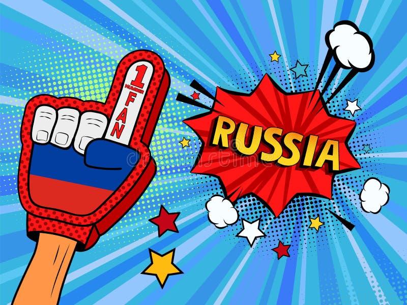 Männliche Hand im Landesflaggehandschuh eines Sportfans hob Gewinn- und Russland-Spracheblase mit Sternen und Wolken oben feiern  lizenzfreie abbildung