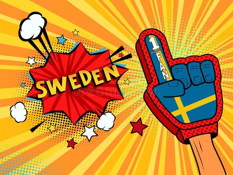 Männliche Hand im Landesflaggehandschuh eines Sportfans hob Gewinn- und Schweden-Spracheblase mit Sternen und Wolken oben feiern  stock abbildung
