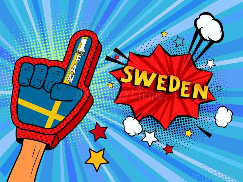Männliche Hand im Landesflaggehandschuh eines Sportfans hob Gewinn- und Schweden-Spracheblase mit Sternen und Wolken oben feiern  lizenzfreie abbildung
