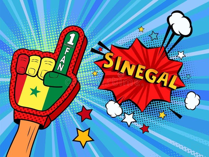 Männliche Hand im Landesflaggehandschuh eines Sportfans hob Gewinn- und Senegal-Spracheblase mit Sternen und Wolken oben feiern a stock abbildung