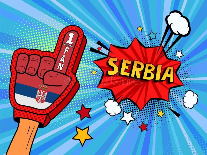 Männliche Hand im Landesflaggehandschuh eines Sportfans hob Gewinn- und Serbien-Spracheblase mit Sternen und Wolken oben feiern a stock abbildung